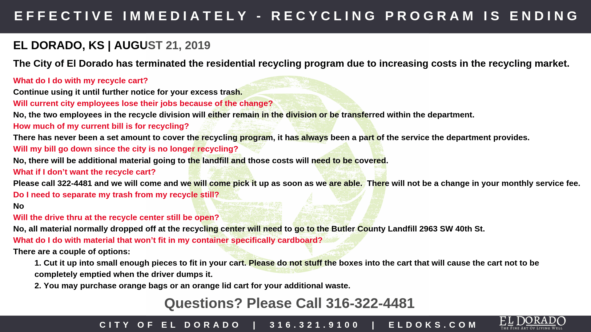 Discontinuation of Recycle Program